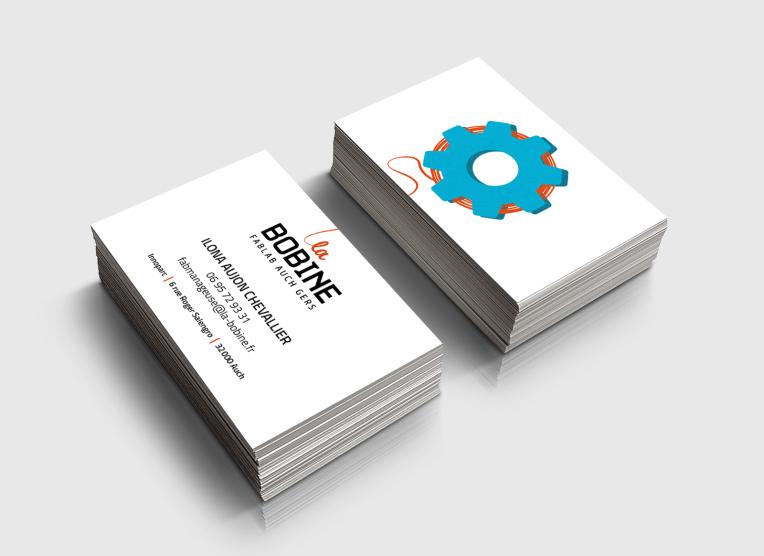 carte visite bobine fablab logo