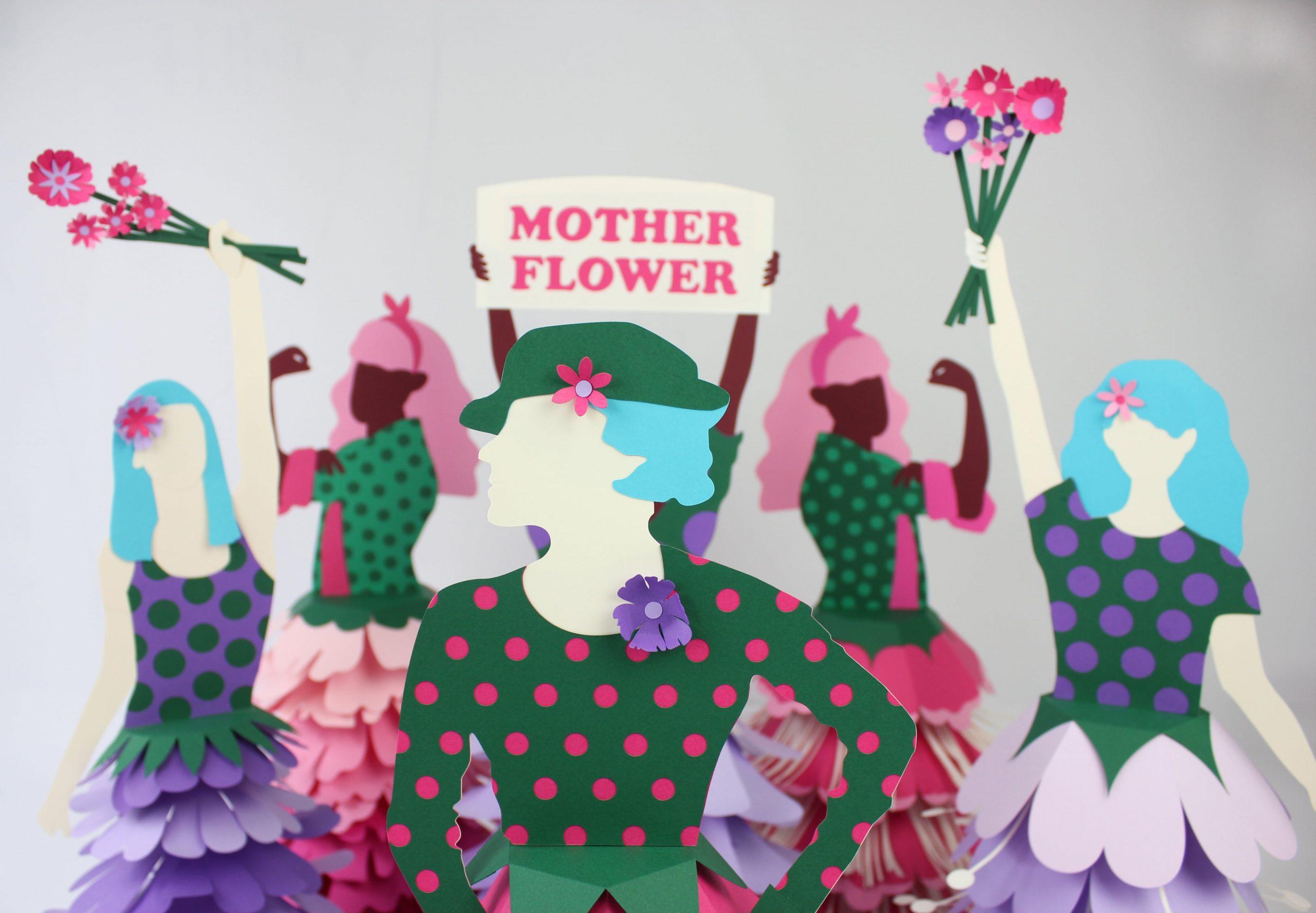 vitrine fête des mères illustration paper art barreau