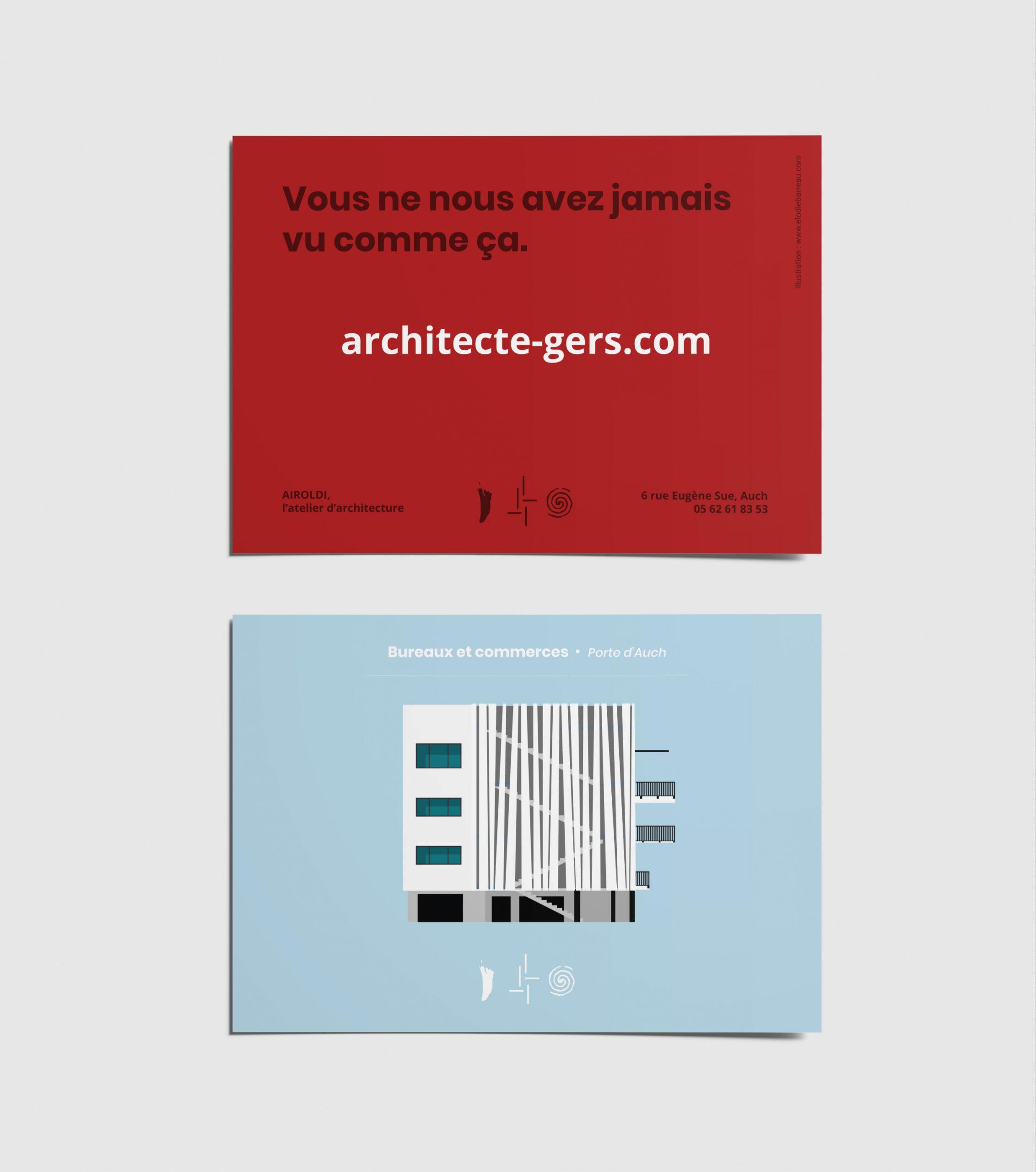 cartes postales airoldi architecte architecture gers illustration